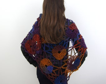 Crochet Triangular Gypsy Flower Shawl