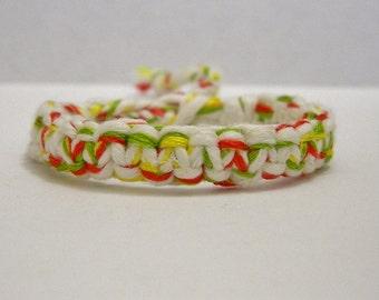 Adjustable Rasta Red Yellow Green White Hemp Bracelet