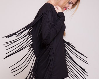 Tassel top long sleeved black shirt, native american, womens top, womens blouse, boho chic hippie tribal sizes : XS / S / M / L / Xl
