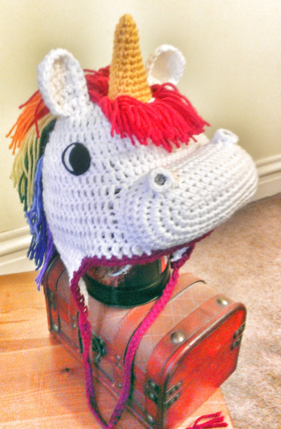 Crochet Pattern For A Unicorn Hat : Crocheted Unicorn Hat by TheCrochetDisplay on Etsy