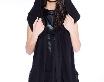 Extravagant black vest with oversized hood / Black vest / Jersey gilet / Minimalist cardigan / Hoodie / Large hoodie / Asymmetrical vest