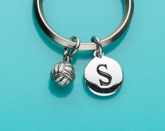 Volleyball Keychain, Volley Ball Key Ring, Team Sports Charm, Initial Keychain, Personalized Keychain, Custom Keychain, Charm Keychain, 374