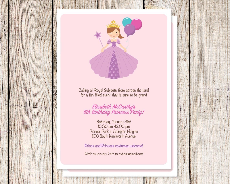 Princess party invitation, princess birthday party, first birthday ...