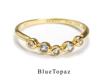 Anniversary ring with Topaz (K14 November birthstone)