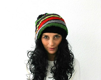 Pom Pom Hat Dark Colorful Striped Baggy Beanie Slouchy Hat