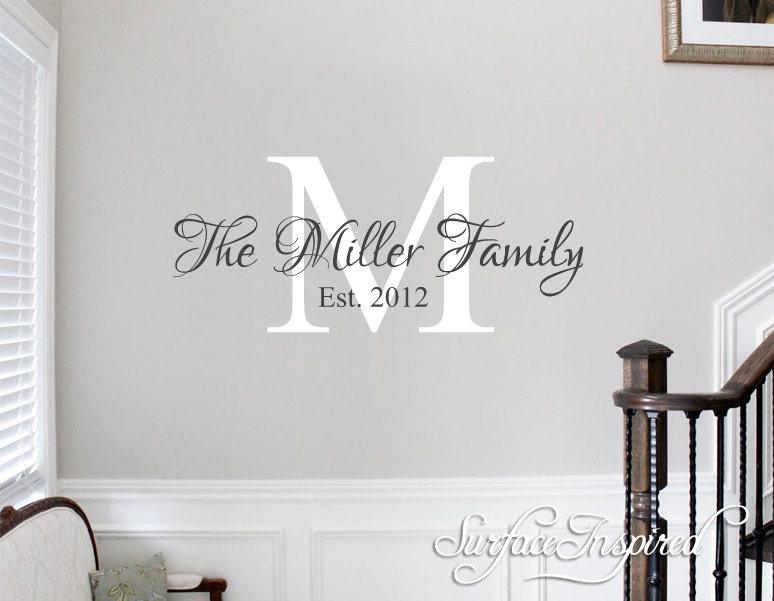 Etsy Family Wall Decor : Wall decals quote personalized family name decal