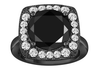6.88 Carat Fancy Black Diamond Engagement Ring, Wedding Ring Vintage Style 14k Black Gold Unique Design Halo Pave handmade