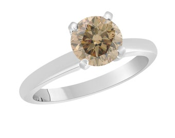 Natural Champagne Brown Diamond Solitaire Engagement Ring 1.01 Carat Certified 14K White Gold