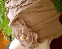 womens Chemo Hat Soft cotton Knit Beige Lightweight slouchy ooh la la Hat  Chemo Headwear Beanie
