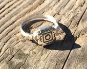 Silver Native wire wrapped Ring - size 8.75 - 8 3/4 - metal beaded handmade simple wrap men women unisex jewelry