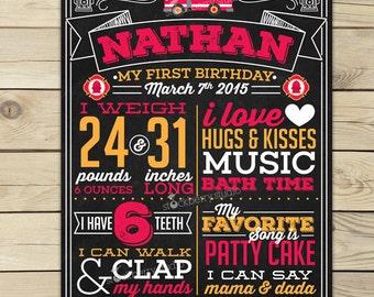 Firetruck 1st Birthday Chalkboard Sign Printable - Boy First Birthday Chalkboard Poster - 1st Birthday Board - Fire Truck Birthday Party