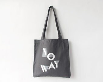 NO WAY Canvas Tote in Dark Grey and White