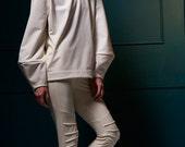 SALE 20% OFF - White sculptured shape unisex tops