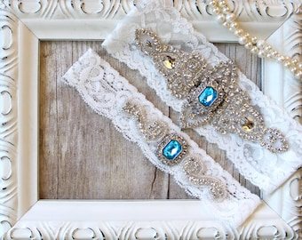CUSTOMIZABLE GARTER - Wedding Garter w/ toss - Turquoise Blue Garter, Something Blue, Crystal Garters, Bridal Garter, Rhinestone Garter