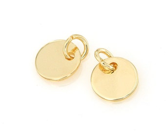 14K Gold Plated Stamping Blank Jewelry Tag, Cycle Blank Disc Tags Sequins, Dia. 10mm, 19 Gauge, Pkg of 100 PCS, F0R1.GO01.P100