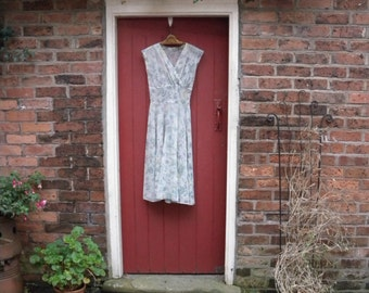 1940s sheer dress / 40s Wildflower Meadows dress / vintage XS 1950s 50s floral dress