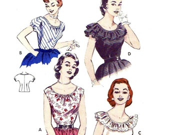"VINTAGE BLOUSE COLLECTION Sewing Pattern - 50's Butterick 6927, Bust 30"", Size 12  -  A Quick and Easy Pattern  -  Very Gently Used"