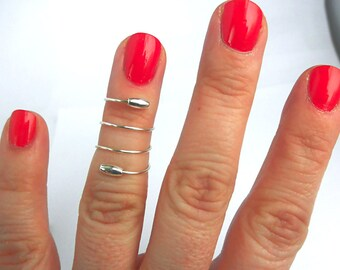 Sterling Silver Midi Ring, Above Knuckle Ring, Sterling Silver Knuckle Ring, Spiral Mid Finger Ring, Midi Ring