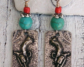 Turquoise And Coral Pistol Earrings, Gun Earrings, PISTOL JeWelry, Western EaRRings, Cowgirl Jewelry, Mounted Shooters, On Sale