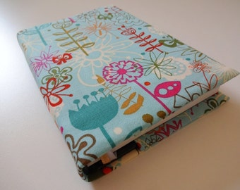 Notebook Cover, Journal Cover, Fabric Cover, A6, Journal, Diary - Whimsical Flowers, Red, Pink, Blue, Green, Orange, White