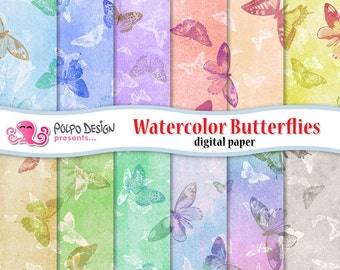 Watercolor Butterflies digital papers. Commercial & Personal use. Instant Download. pattern patterns paper butterfly pastel watercolor.