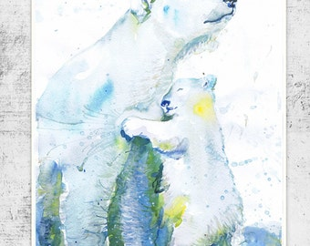 Polar bear Print Watercolor Polar bear Art, polar Bear Mom and baby Polar bear Painting Bear Watercolour Polar bear Nursery , Arctic Animals