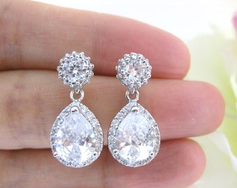 Lux Clear White Cubic Zirconia Teardrop Earrings Sparky Earrings Bridal Earrings Wedding Jewelry Bridesmaid Gift Luxury Earrings (E104)