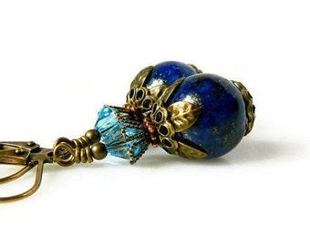 Victorian Aqua & Lapis Earrings Lapis Lazuli Earrings Indigo Aquamarine Earrings Dark Blue Dangles Swarovski Crystal Antique Brass Drops