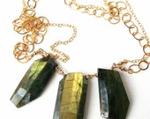 Labradorite Necklace and Earring Set Statement Jewelry Free Shipping