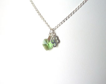 August Birthstone Necklace, Tiny Heart Necklace, Childrens Birthstone Necklace, Peridot Necklace, Kids Initial Necklace, Sterling Silver
