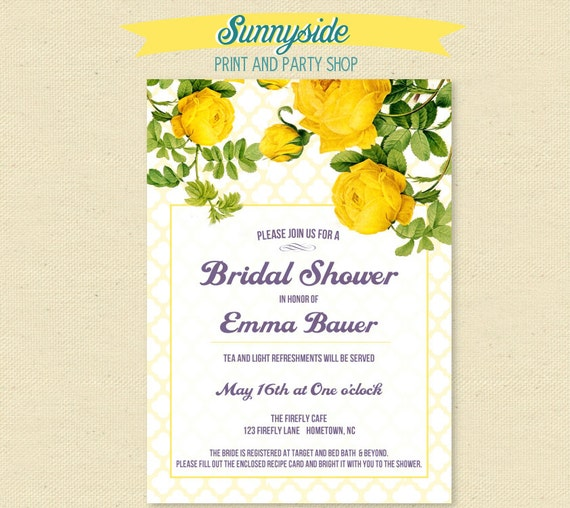 Yellow rose bridal shower invitation by sunnysideprintparty for Yellow bridal shower invitations