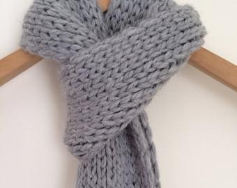Men's Alpaca Knit Scarf / Gray Baby Alpaca Scarf Free US Shipping