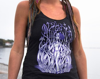 Mexican Tank Top Art Print Burning Man Tank Mother Nature Womens Mujer Cool Girls Unique Clothes Goddess Black Tri Blend Sizes (XS S M L)