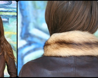 Vintage Real Recycled Fur Collar, Handmade
