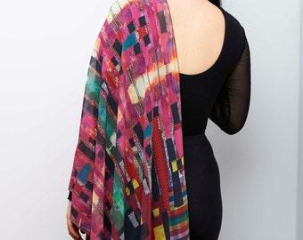 ON SALE! unique shawl, wearable art, Oversized scarf, Geometric scarf shawl, Abstract shawl, unique  pattern, evening scarf, chiffon shawl