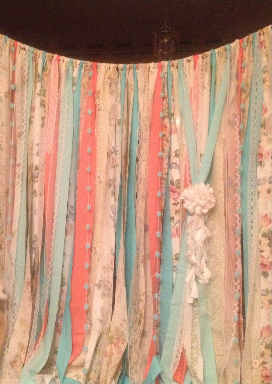 Boho window curtains - Mint Coral Aqua Teal Rag Curtain Ribbon Garland Lace And Fabric X 7 Foot Long Curtains Boho Shabby Backdrop Dorm Nursery Shower