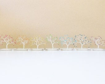 miniature rainbow art wire trees resin base, yoga spiritual minimal wire tree decoration, art tree statue home office decor, yoga chakra art