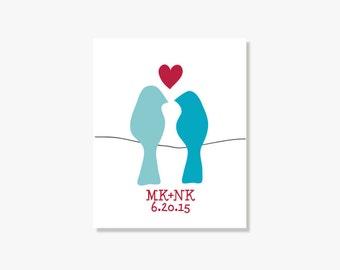 Anniversary Gift Personalized Gift Anniversary Date Lovebirds Wall Art 1st Wedding Anniversary