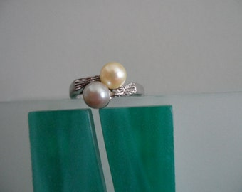 Cultured Pearl Ring - Sterling Silver - Size 8 - Authentic Cultured Pearls - Beautiful Condition - Suitable for Gift Giving