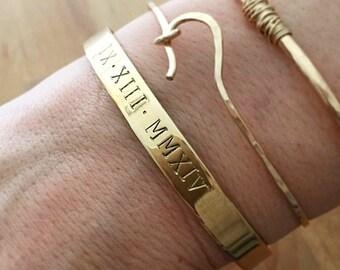 Hand Stamped Roman Numeral Bracelet . Graduation Gift . Roman Numbers Bracelet . Tatum Bradley