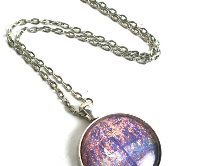 "Muted Yellow Weeping Fall Time Cherry Tree Photograph in a Glass Cabochon and with a Silver Plated Bezel Pendant on a Silver Chain 16""-24"""