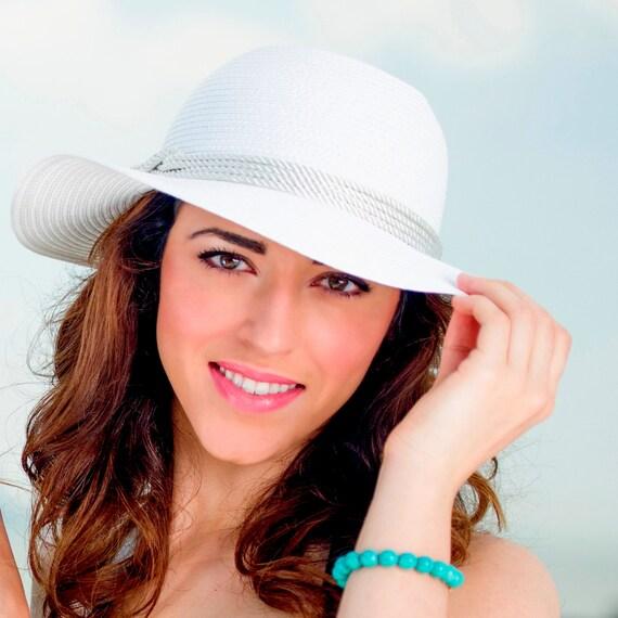 womens white hat floppy hat straw hat by beachglam2014