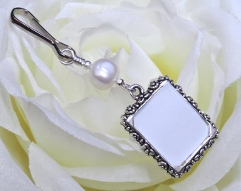 Wedding bouquet photo charm. Memorial charm w freshwater pearl and small picture frame. 1 or 2 sided frame. Bridal shower gift for a bride