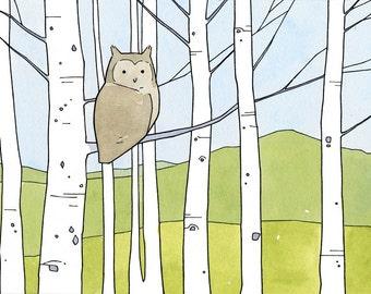 Owl Aspen Trees Art Print, modern woodland illustration