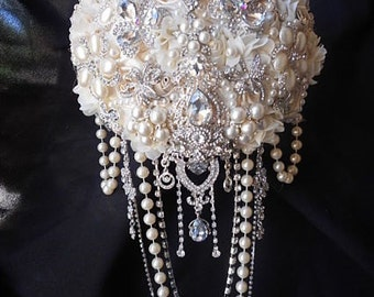 GLAMOROUS BROOCH BOUQUET, Cascading Ivory Brooch Bouquet, Ivory Brooch Bouquet, Jeweled Pearl Brooch Bouquet, Jewelry Bouquet, Deposit Only