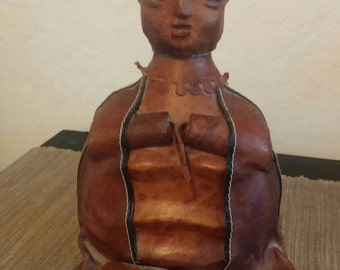Vintage Leather and Cowhide Bottle and Removable Head With Cork