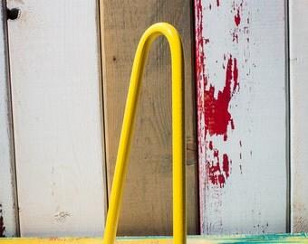 "Set of 4 Sunshine Yellow Hairpin legs 18"""