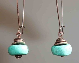 Green Boho Earrings Ceramic Dangle Earthy Porcelain Amazonite Moroccan Pottery Clay Beads North African Beads Berber Beads Earrings Jewelry