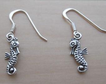 925 Sterling Silver Drop Dangle Seahorse Earrings