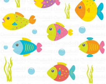 Cute fish vector - Digital Clipart - Instant Download - EPS, Pdf and PNG files included